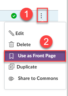 Image showing the Option 1 select the 3 dots and option 2 select use as a front page