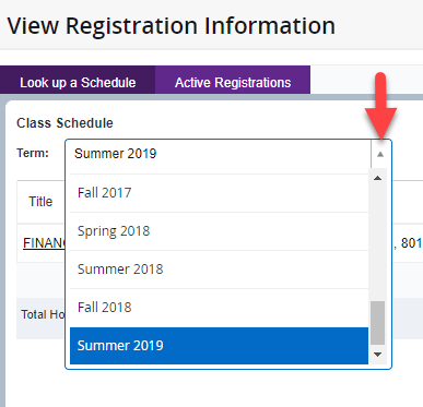 The view registration information with the term drop-down menu