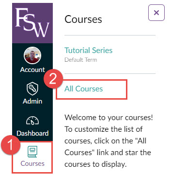 Image showing Canvas global navigation bar highlighting Course then clicking All Courses in submenu