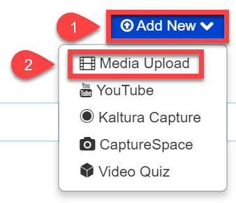 Image showing the Add New and then Media Upload locations