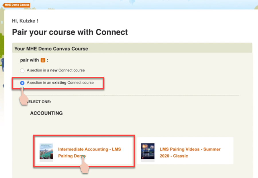 Showing the clicks to choose pair and existing connect course and then selecting a course