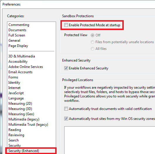 Adobe Acrobat Reader DC Security enhanced preferences with enable protected mode at startup unchecked