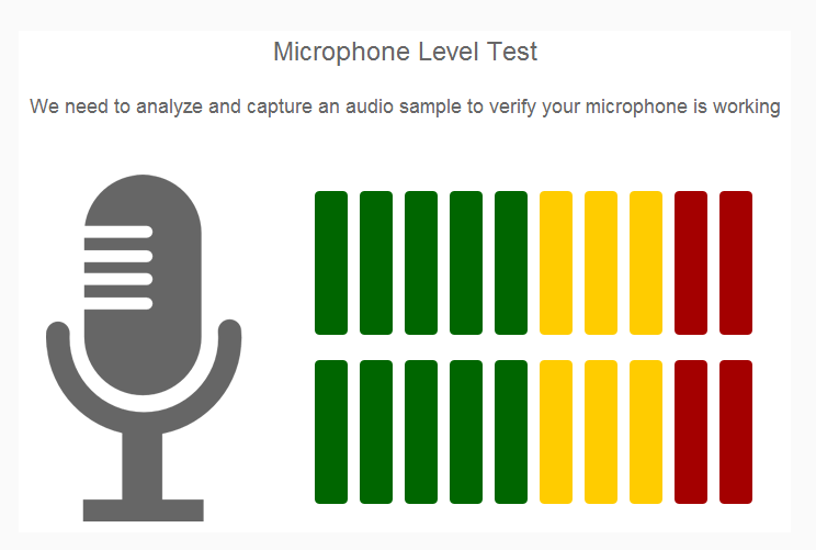 image is showing the microphone level test