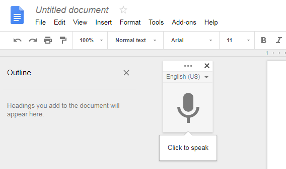 Google document with the voice typing floating window shown