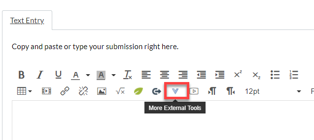 rich content editor image with the external tool icons outlined