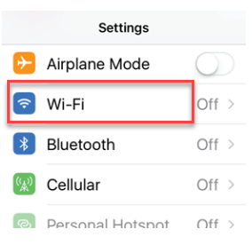 Image of the settings app on the mobile with Wi-Fi outlined
