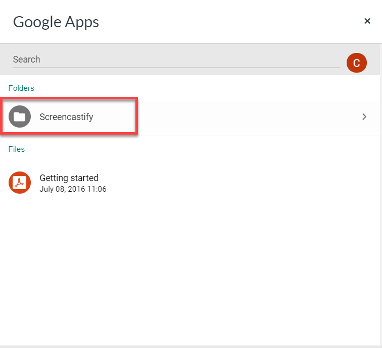 google apps screen with the screencastify folder outlined
