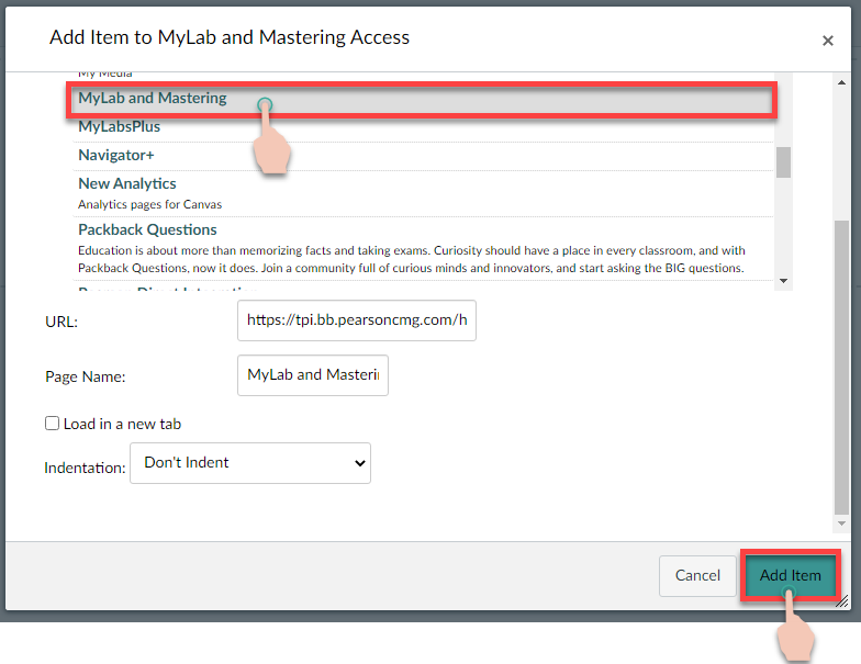 showing clicks to add MyLab and Mastering External Tool to a module