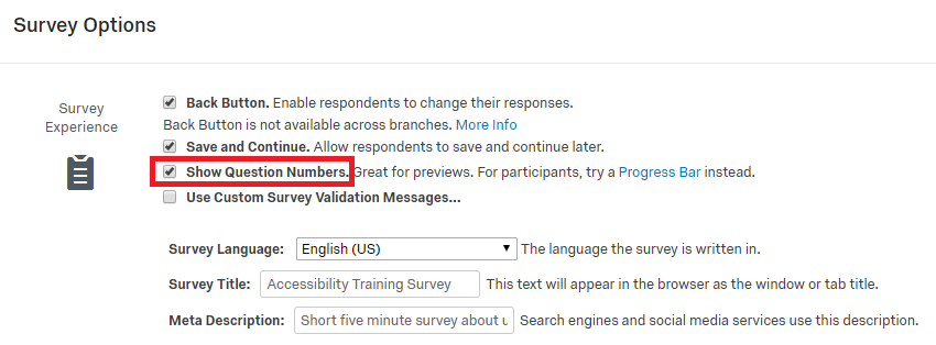 qualtrics survey options menu with focus on the survey experience section with highlighting around the show question numbers checkbox