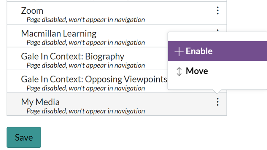 Enable My Media in Canvas course navigation.