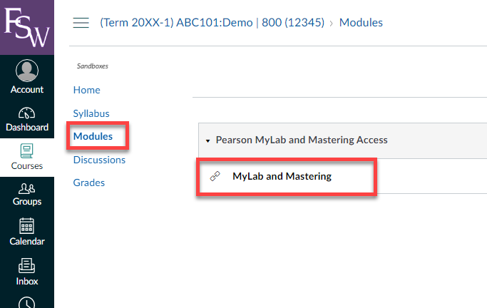 showing the location of the My Lab and Mastering link within a Canvas course module