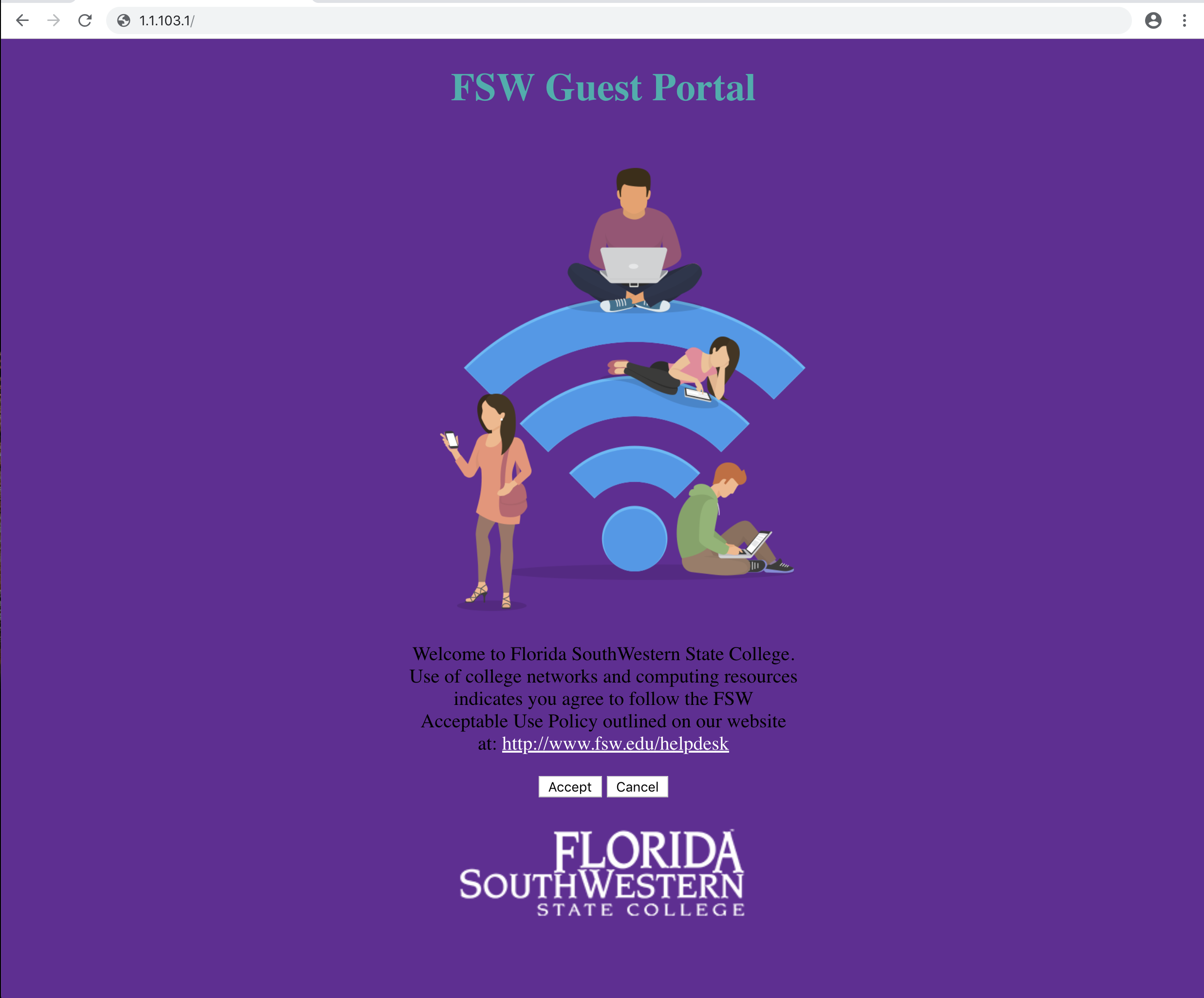 Image showing the FSW Guest Portal Page