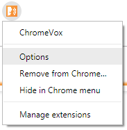 ChomreVox menu open after selection with Options highlighted.