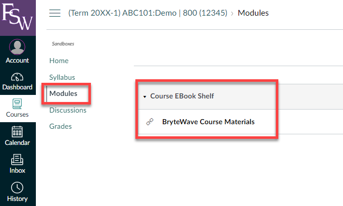 shows the modules active area of the canvas course with link to BryteWave Course Materials