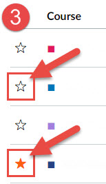 Image showing location of Icon to click to add or remove courses to the Canvas Dashboard