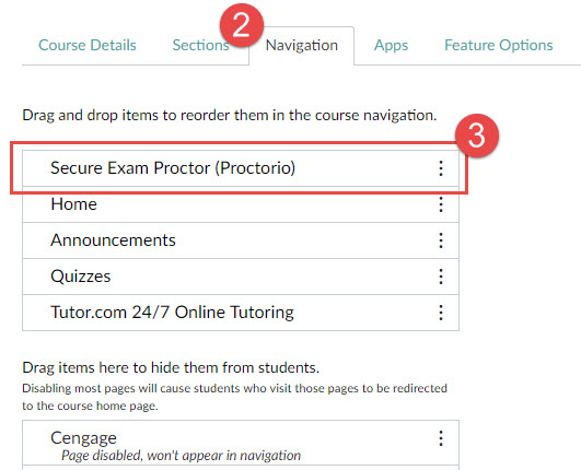 Image of Canvas course settings. The Navigation tab is selected.