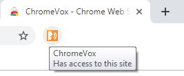 """ChromeVox extension selected in Google Chrome with callout box stateing """"ChromeVox Has access to this site""""."""