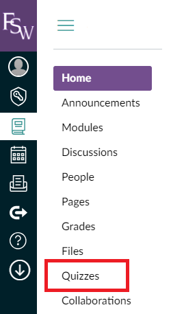 Canvas dashboard menu to selected course with the Quizzes option highlighted for selection