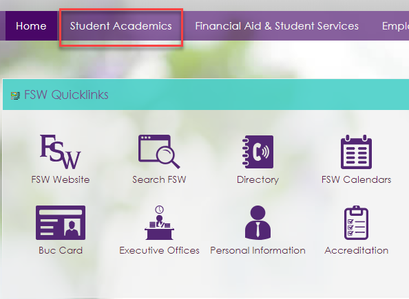 Image showing the student academics tab outlined