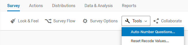 qualtrics survey editor with tools menu expanded highlighting the auto-number questions tool