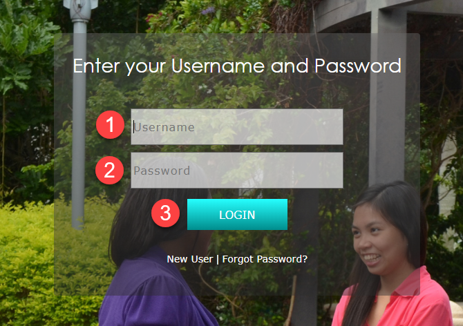 Image of the login screen with the username,  password and login button
