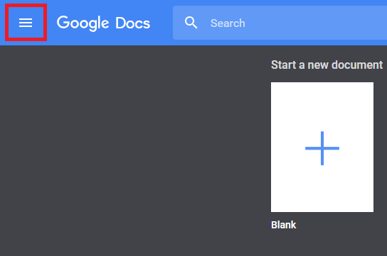 Google Docs initial page with main menu option highlighted to switch apps