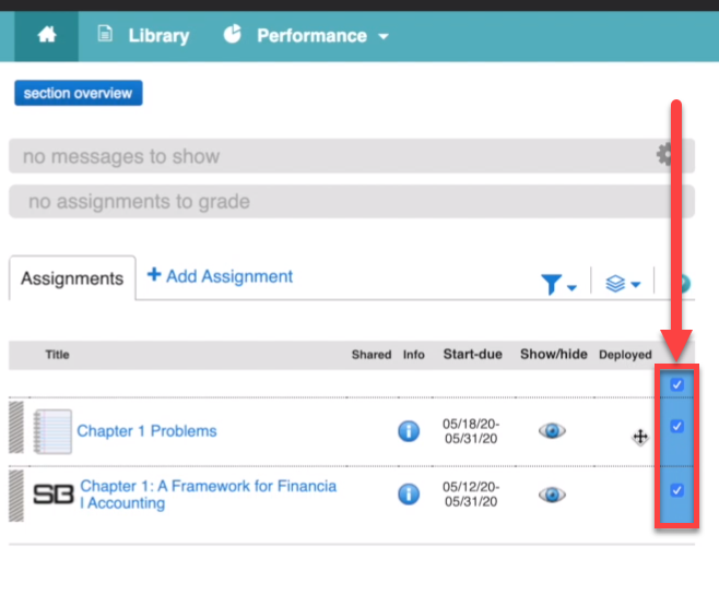 showing a connect course section homepage with the assignments checked