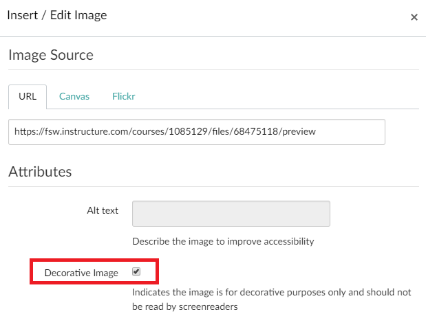 Canvas embed image with decorative image selected to have a screen reader skip the image
