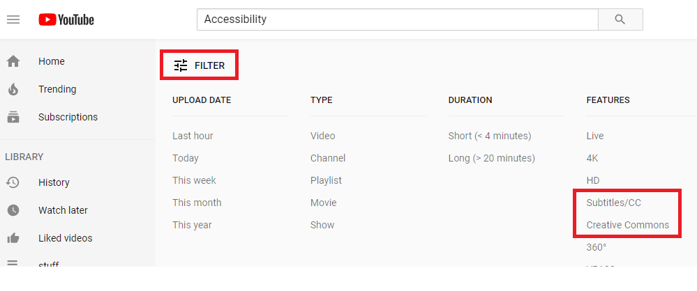 YouTube search of accessibility with filters expanded with focus on Subtitles/CC and Creative Commons options