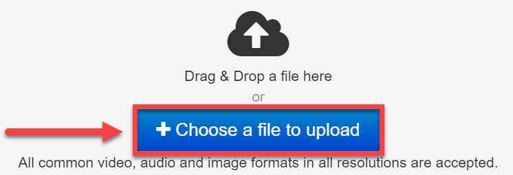 image showing location of Choose a file to upload button