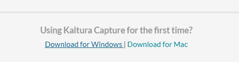 Image with the link to download Kaltura for Windows or Mac