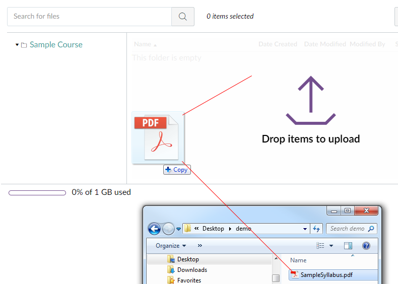 Drag and drop files in to course files method image