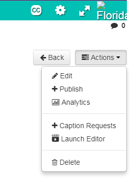 Kaltura actions menu below an uploaded video expanded showing the publish action