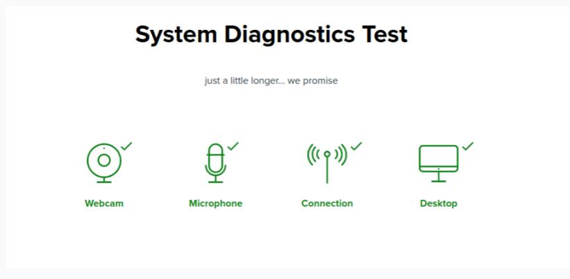 images is showing the system diagnostic test, webcam, microphone, connections, desktop