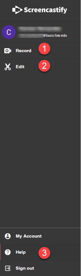 Screencastify dashboard