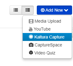 Add New and Kaltura Capture button location image
