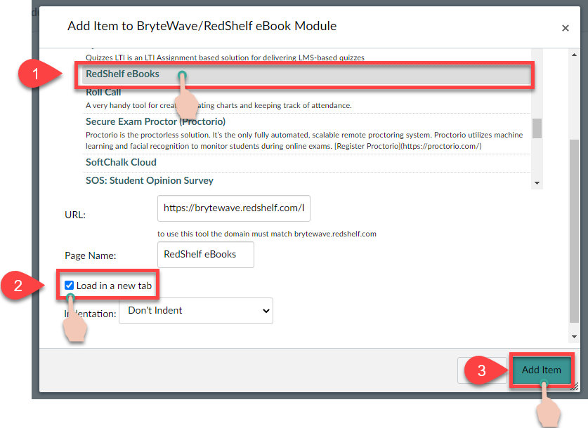 showing the steps, 1) click the RedShelf ebooks within the displayed list, 2) Load in a new tab selection, 3) finish by clicking the Add item button