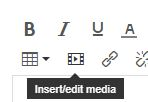 Image showing the location of the Insert/edit media icon in the Canvas rich text editor.
