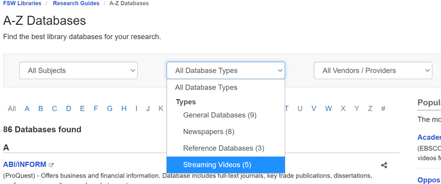 The subject streaming videos expanded to show many databases