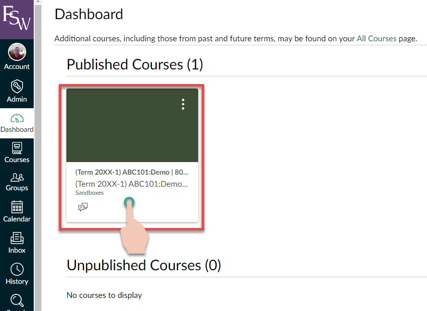 showing the steps to click on a course from the Canvas dashboard