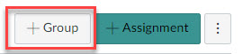+Group button location in the assignments area of a Canvas course.