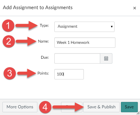 Add assignment to assignments menu image