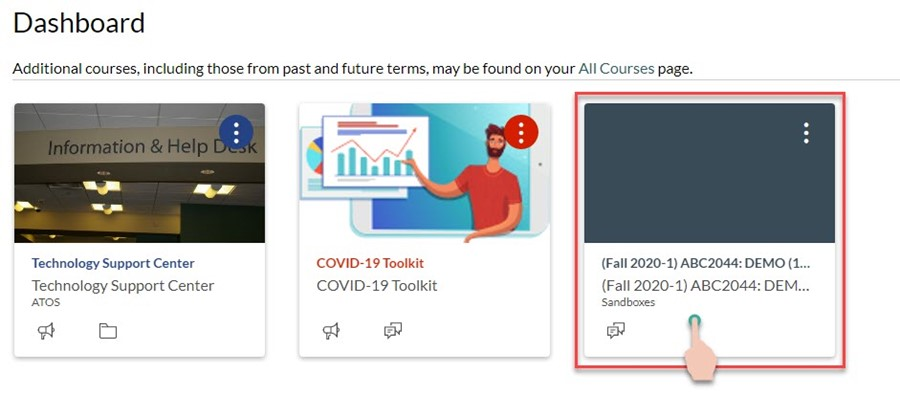 demonstrating to click on a course title from the canvas dashboard
