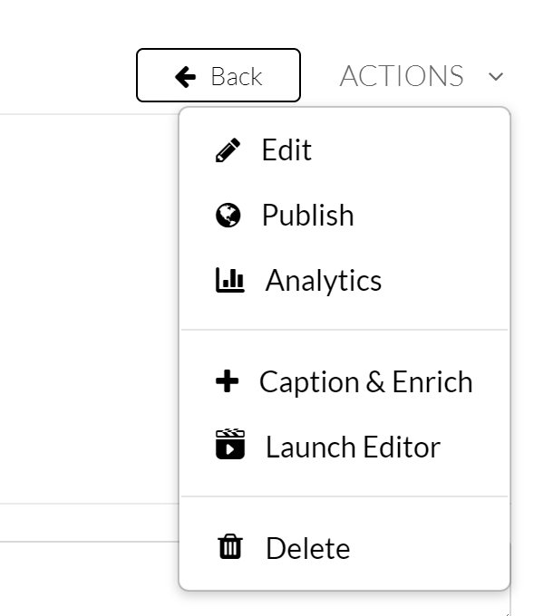 My media file actions.
