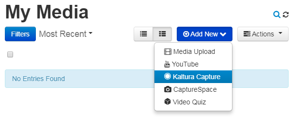 Kaltura empty My Media library with add new button expanded to show options