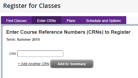 Register for classes tab to enter the CRN number