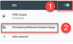 Image with Wi-Fi on and Florida SouthWestern network selected