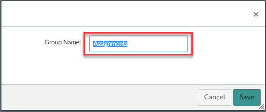 Image showing text box to change assignment group's title.