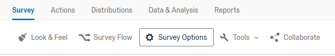 qualtrics survey editor with survey options button highlighted