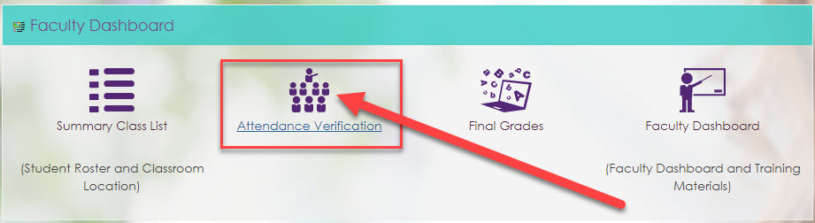 Click on the Attendance Verification icon